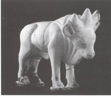 Toro Tricorno - piccola terrecotta del II-III sec. d.C. dalla necropoli gallo-romana di Cutry (F)