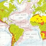 Mappa delle correnti oceaniche nell'Atlantico: si noti la vasta Corrente Equatoriale che, da fredda nel Golfo di Guinea, diventa calda al largo del Brasile, a nord del quale si dirige la sua diramazione più larga. (da World Atlas dell'Enciclopedia britannica).